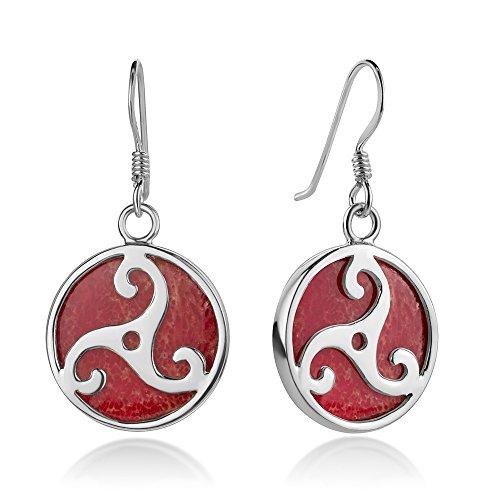 Sterling Silver Triple Spiral Triskele Triskelion Celtic Symbol Red Coral Dangle Hook Earrings 1.3