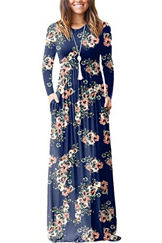 Sunfury Women Dressy Maxi Dress Extra Long Sleeve Floral Print Prom Wedding Long Plus Size Dress Navy Blue Meduim (Extra Long Plus Size Maxi Dresses)