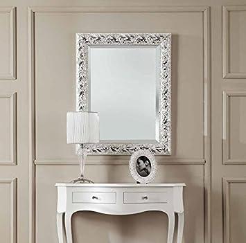 specchiera in legno argento e bianca con specchio molato: amazon ... - Cucina Bianca E Argento