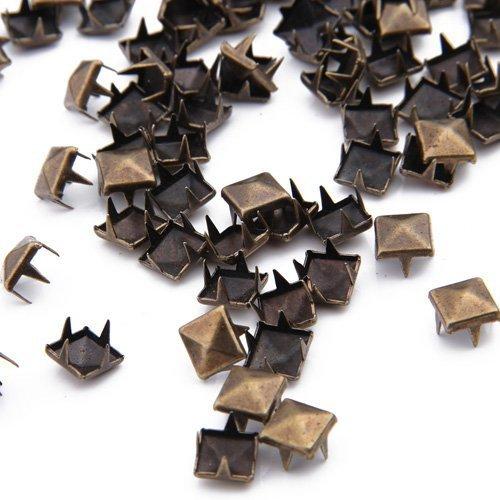 YEHAM®500PCS Pyramid Shaped Punk Rivet Stud Nailhead for Leathercraft&Belts (bronze) (Trim Brass Nailhead)