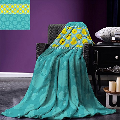 (smallbeefly Rubber Duck Throw Blanket Yellow Cartoon Duckies Swimming in Water Pattern with Fun Bubbles Aqua Colors Warm Microfiber All Season Blanket for Bed or Couch Teal Blue)