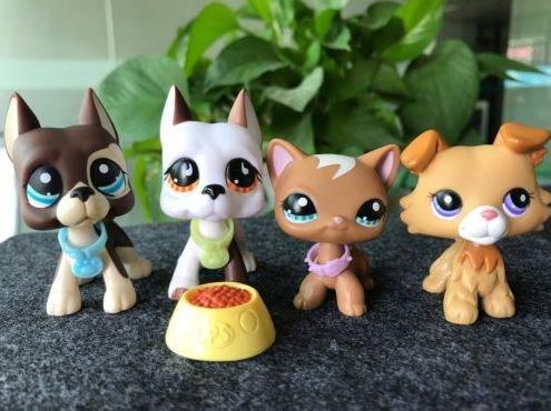 Dots Cat Collar - The Pet Shop 4x Great Dane Dot Eyes Collie Short Hair Cat Littlest Pet Shop LPS Toy+Collars