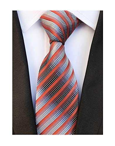 Men Stripes Orange Grey Silk Tie Jacquard Woven Gentlemen Necktie Boyfriend Gift