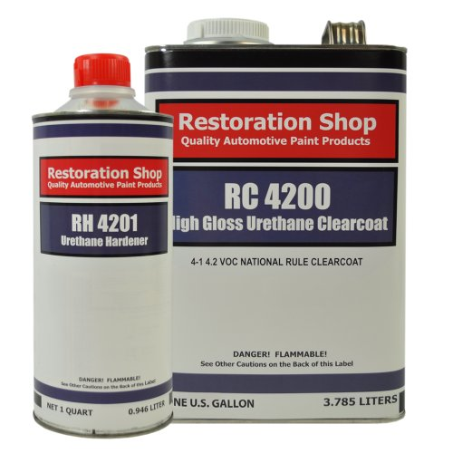 Clear Coat Car Paint - Restoration Shop 4.2 VOC High Gloss Urethane Clear Gallon Kit with Hardener