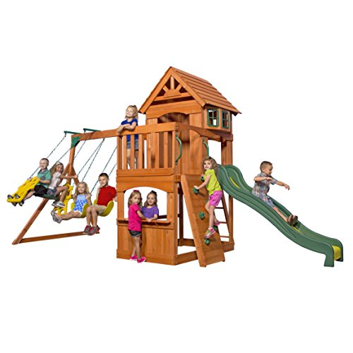 Backyard Discovery Atlantis All Cedar Wood Playset Swing Set (Wooden Swing Sets For Sale)