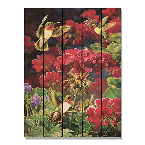 Hummingbird Welcome Sign - CELYCASY Hummingbird & Geranium Art on Wood, Colorful Bird Print, Indoor and Outdoor Decor, Wall Decor, Wall Hanging Art. (GGHG16242836)