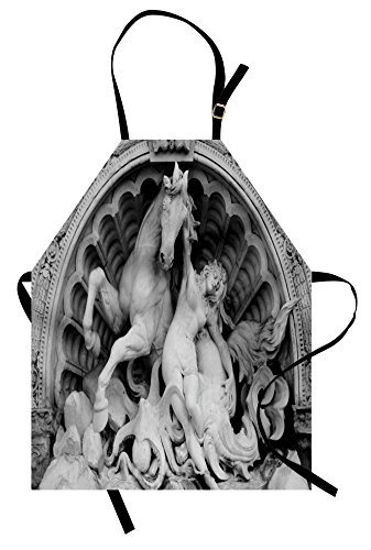 Ambesonne Sculptures Apron, A Struggling Nymph with Octopus Seashell Horse in a Lunette Sculpture Art in Bologna, Unisex Kitchen Bib Apron with Adjustable Neck for Cooking Baking Gardening, Grey -