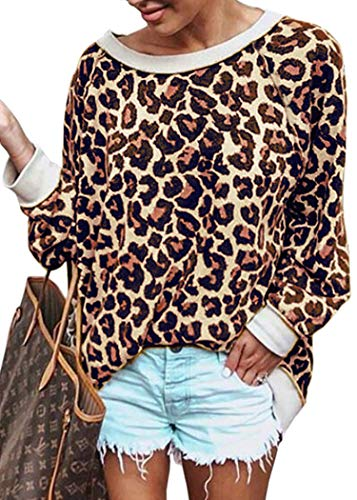 ECOWISH Women's Casual Leopard Print Pullover Long Sleeve Sweatshirts Top Blouse Coffee M