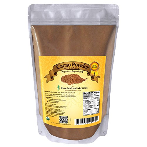 Pure Natural Miracles Raw Organic Cacao Powder, Best Unsweetened Cocoa, 100% USDA Certified