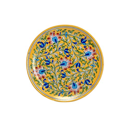 Lalhaveli Handmade Decorative Ceramic Plate Wall Hanging Decor Items 9 x 9 x 2 Inch