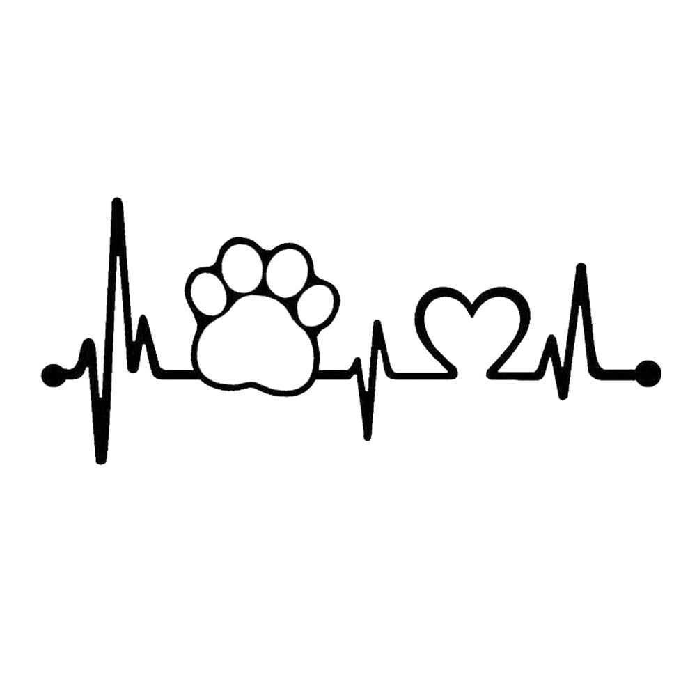 856store Clearance Sale Heartbeat Dog Paw Creative Motorcycle Car Window Body Decoration Sticker Decal