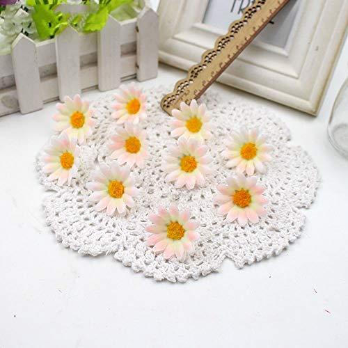 MMKKWDS 50Pcs Small Silk Sunflower H Make Artificial Flower Head Wedding Decoration DIY Wreath Gift Box Scrapbooking Craft Pink
