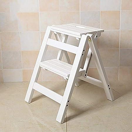 ZKKP Escalera de Madera Plegable de 2 escalones Escalera de Escalera portátil Asiento de Escalera Versátil Cocina para el hogar Baño Muebles de Oficina Silla de Escalera-Blanco: Amazon.es: Hogar
