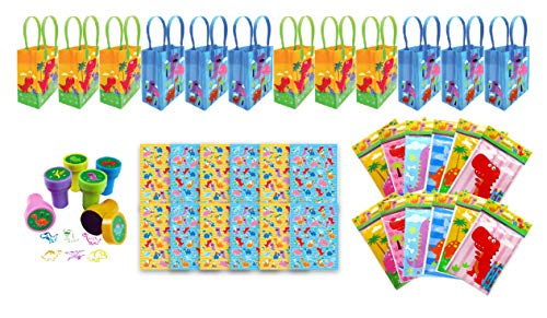 TINYMILLS Dinosaur Birthday Party Favor Set of 60pcs (12 Treat Bags, 24 Stampers, 12 Sticker Sets, 12 Coloring Books with - Favor Bags Set