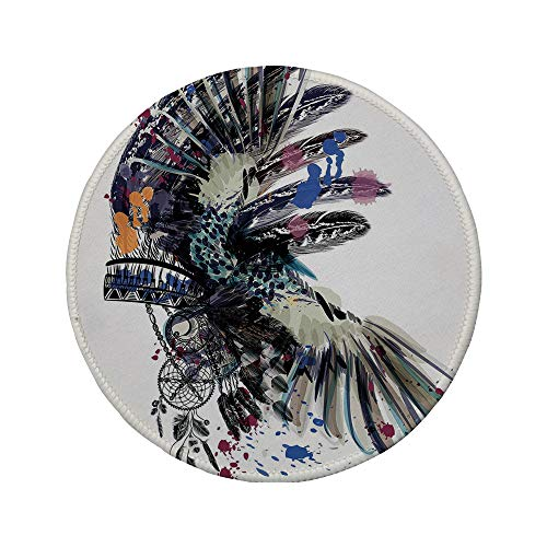 Non-Slip Rubber Round Mouse Pad,Feather,Ethnic Boho Fashion Theme Headdress with Colorful Ink Spots Tribe Chief Vintage,Multicolor,11.8