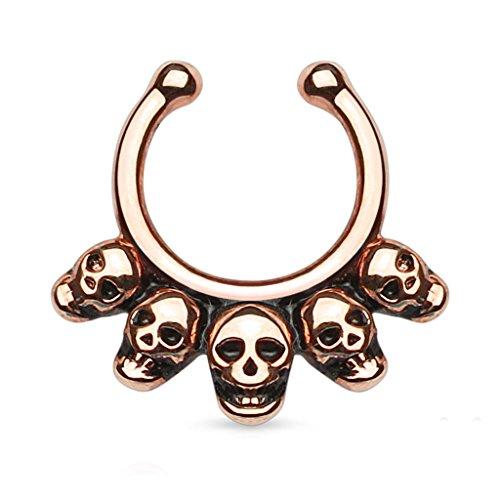 BodyJ4You Fake Septum Ring Macabre Skulls Non-Pierced Rose Goldtone - Skull Septum Ring