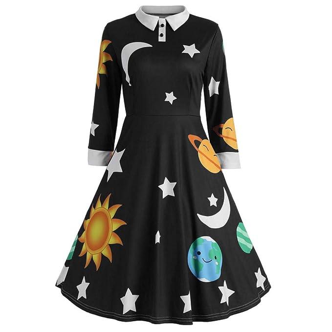 8d750010289b CieKen Halloween Dresses for Women with Pockets,Fashion Womens Sun and Moon Star  Print Botton