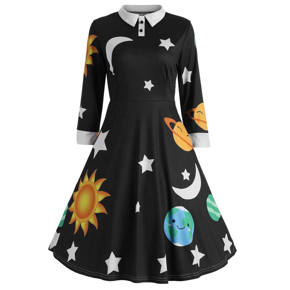 Fashion Womens Print Botton Long Sleeve Flare Vintage Dress Sun and Moon Star Black