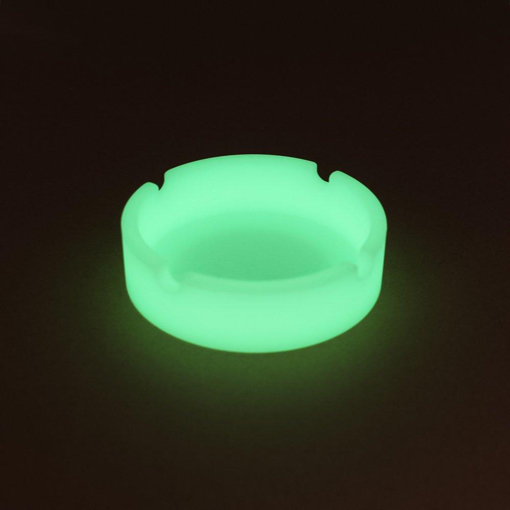 Dalong Silicone Ashtray Premium Silicone Rubber High Temperature Heat Resistant Round Design Ashtray Durable Glow In Dark (3 Pcs) (A) by Dalong
