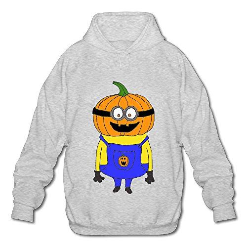 Cartoon Minion Pumpkin Funny Halloween Mens Hoody (Ds Minion Game)
