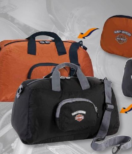 Harley-Davidson® Transformers Duffel Bag. Rust/Black. 18 X 11 X 9-Inches Opened. Folds to 7 X 6 X 2-Inches. 99520-RUST/BLK, Bags Central