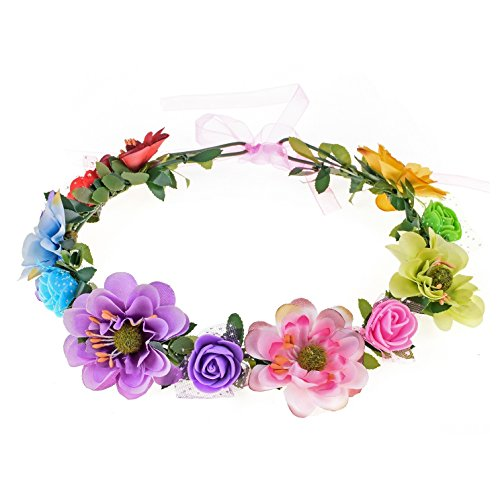wer Leave Crown Bridal Halo Headband with Adjustable Ribbon (Rainbow) ()
