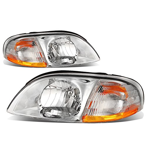 Pair Chrome Housing Clear Lens Amber Corner Headlight For 99-03 Ford Windstar V6 3.8L 4dr Minivan - Pair Clear Lens