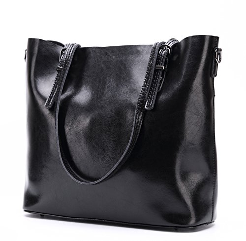 Genuine Leather Purse Tote Bag (CLELO Womens Leather Tote Bag Genuine Leather Purse and Handbag Shoulder Bag for Women (Black))