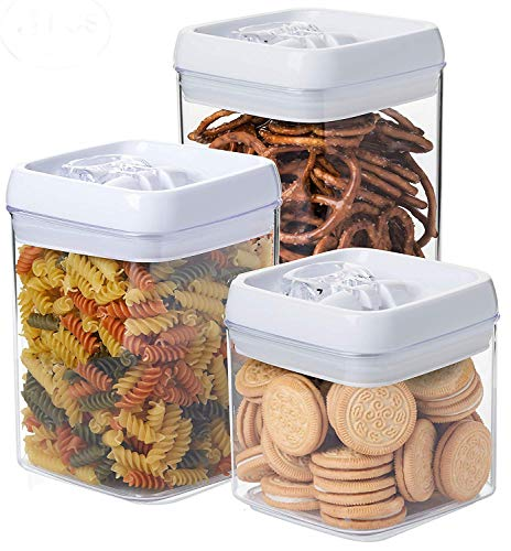 Guru Products Set Large Capacity Clear Food Containers w Black Airtight Lids Canisters for Kitchen and Pantry Storages - Storage for Cereal, Flour, Cooking - BPA-Free Plastic … (White, 3pc)