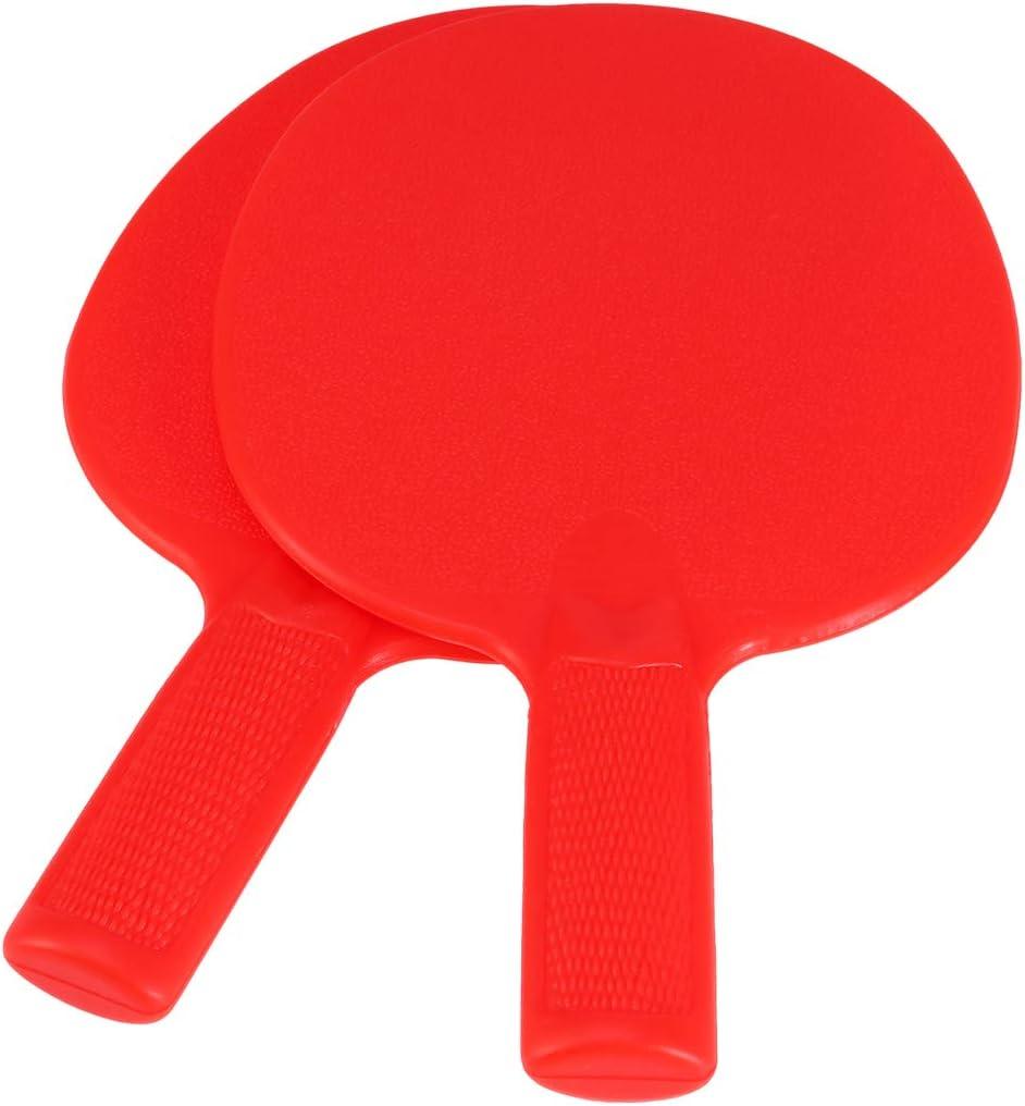 LIOOBO 1 par de Tenis de Mesa murciélagos de plástico Raqueta los niños practican Entrenamiento Pantalones de plástico para niños (Rojo)