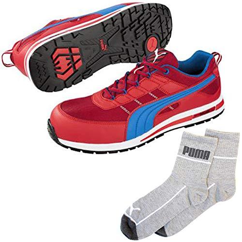 PUMA(プーマ) 安全靴 キックフリップ 25.5cm レッド レッド×ブルー PUMA ソックス 靴下付 64.320.0  B07QP64NQQ