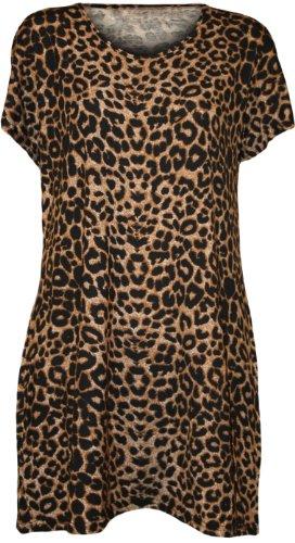 WearAll Women's Plus Size Leopard Print Short Sleeve Top - Brown - US 18-20 (UK 22-24)