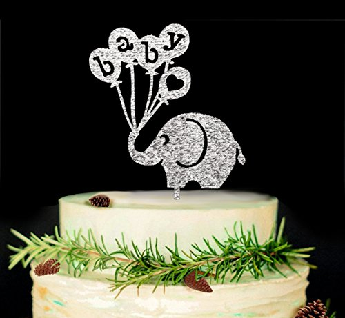 Baby Elephant Cake Topper-Baby Shower Cake Topper,Gender Reveal Party Decorations (Silver) ()