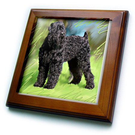 3dRose ft_4412_1 Black Russian Terrier Framed Tile, 8 by 8-Inch -