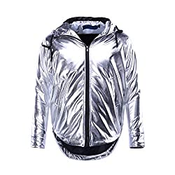Men's Hooded Metallic Hip Hop Jackets