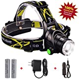 SH 2000 Lumens Ultra Bright Led Headlamp Yellow Rechargeable 18650 Batteries, Waterproof Flashlight Strobe, Book Nightlight, Zoomable Lightweight For Camping, Hiking, Weather Biking, Kids Ect.