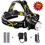 Head Mounted Flashlight 2000 Lumens Water Resistant Ultra Brightest Led Headlamp With Rechargeable 18650 Batteries Lightweight Camping Best for Hiking Walking Fishing Weather Biking Running At Night