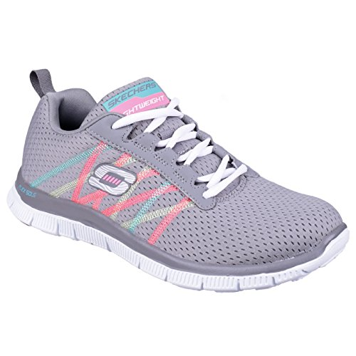 Skechers Sk11885 Sports Flex Appel Quelque Chose Amusant Dames Formateurs Noir / Blanc