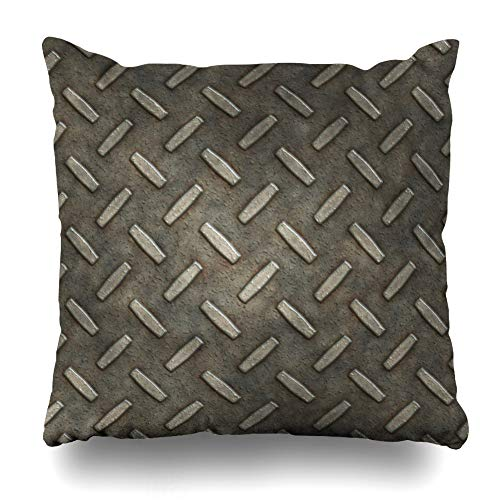 Ahawoso Throw Pillow Cover Plaque Gray Rust Diamond Plate Silver Grid Alloy Aluminum Board Border Brushed Tack Home Decor Cushion Case Square Size 16 x 16 Inches Zippered Pillowcase