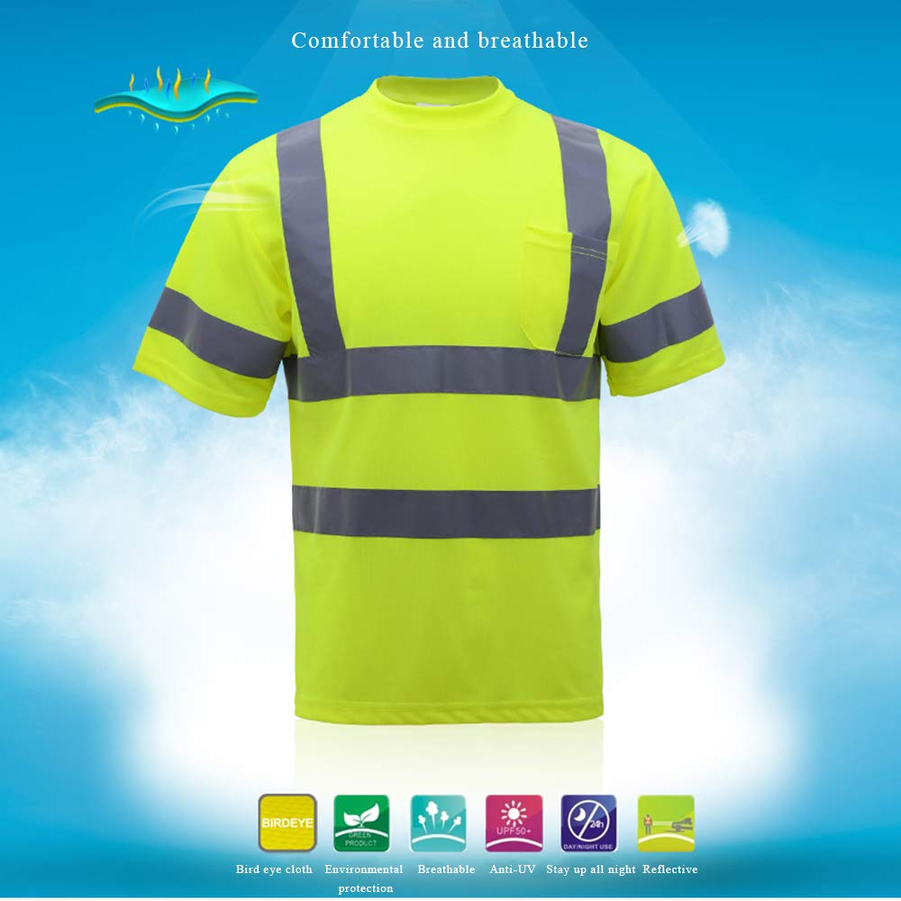 LASPERAL Warnschutz-T-Shirt Sicherheits Arbeitskleidung Hohe Sichtbarkeit T-Shirt Warnshirt Fluoreszenz Gelb XL