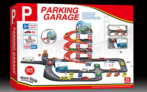 MeeYum Pretend Play 4-Level Parking Garage with Cars, Truck and accessories (Pretend Garage Play)