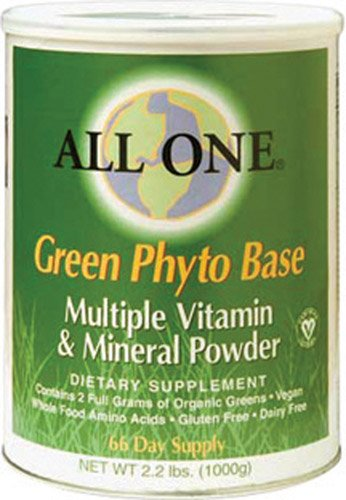 All One Nutritech Green Phyto Base Multiple Vitamin and Mineral Powder -- 2.2 lbs - 2PC