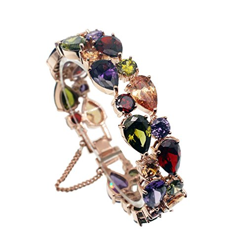 Vanessa Rose Gold Multi Gemstone Jewelry Sets for Women,Sparkling Garnet Amethyst Morganite Peridot Topaz (7 inch Bracelet)