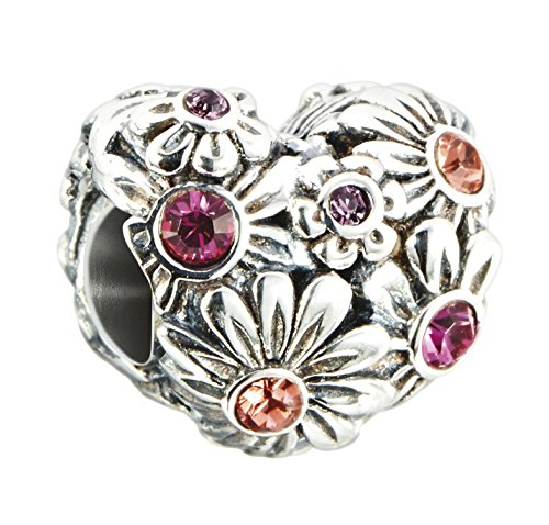 (Chamilia Sterling Silver and Swarovski Crystal Zinnia Heart Bead)