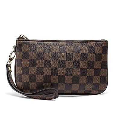 Checkered Zip Wristlet Wallet for women Leather RFID Blocking Purse brown Size: Small