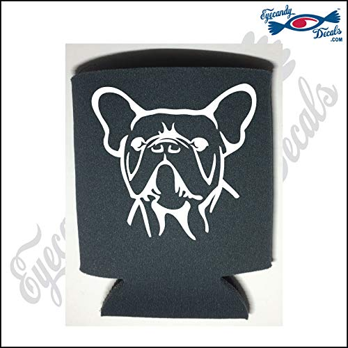 Eyecandy Decals French Bulldog Dog Head White on a Charcoal Pocket FOLD CAN Cooler