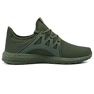 Feetmat Womens Sneakers Ultra Lightweight Breathable Mesh Athletic Walking Running Shoes Green Size: 6