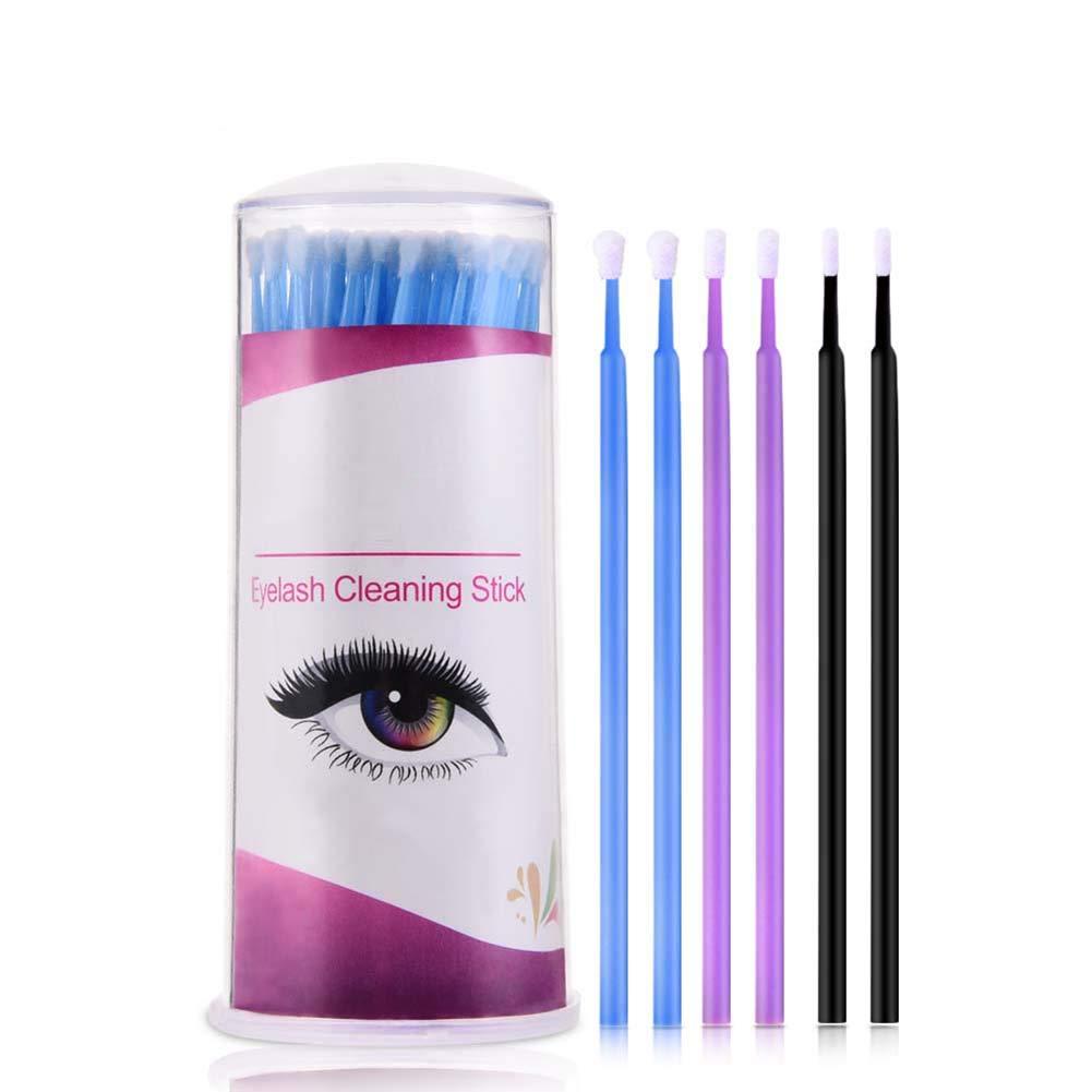 Purple,S Beito 100Pcs//Box Micro Brush For Eyelash Extension Lint Free Microbrush Disposable Micro Fiber Wands Eyelash Cleansing Applicator