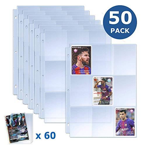 TAOPE Trading Card Sleeves, 450 Pockets Baseball Card Sleeves with 60 Pieces Trading Card Holder Collector Card Binder Sheets