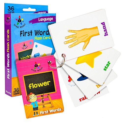 Star Right First Words Flash Cards with Realistic Art, 36 Ca